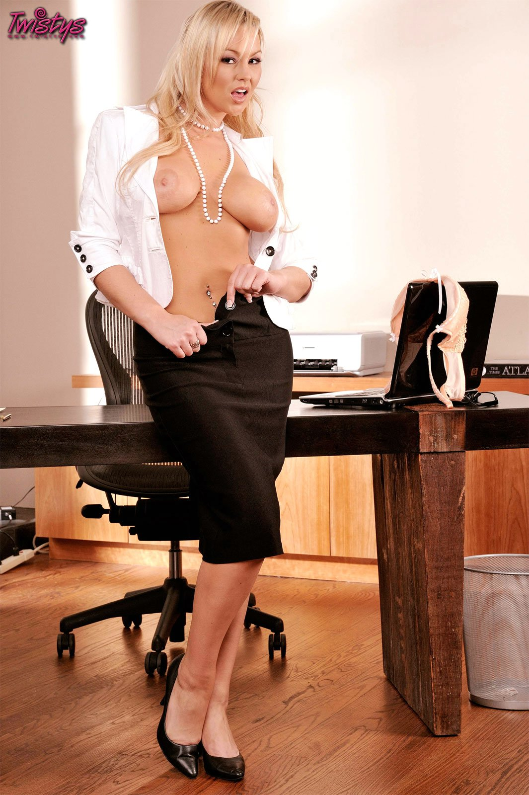 busty secretary abbey brooks stripping in the office my