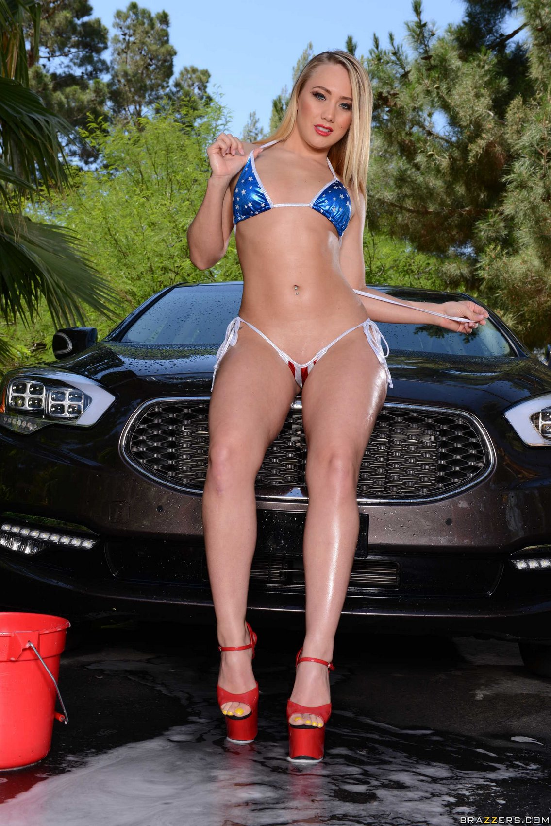 aj applegate in red high heels washes a car my pornstar book