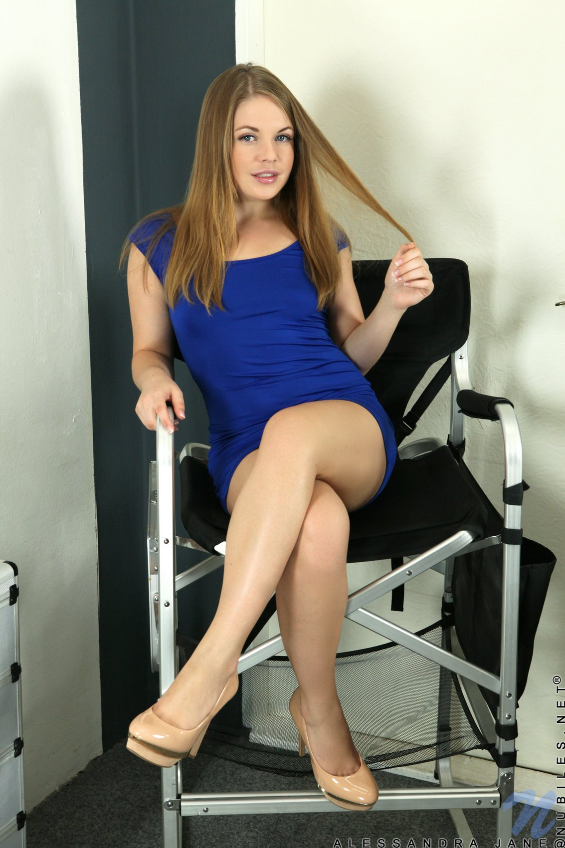 Alessandra Jane in sexy dress and high heels fingering her ...