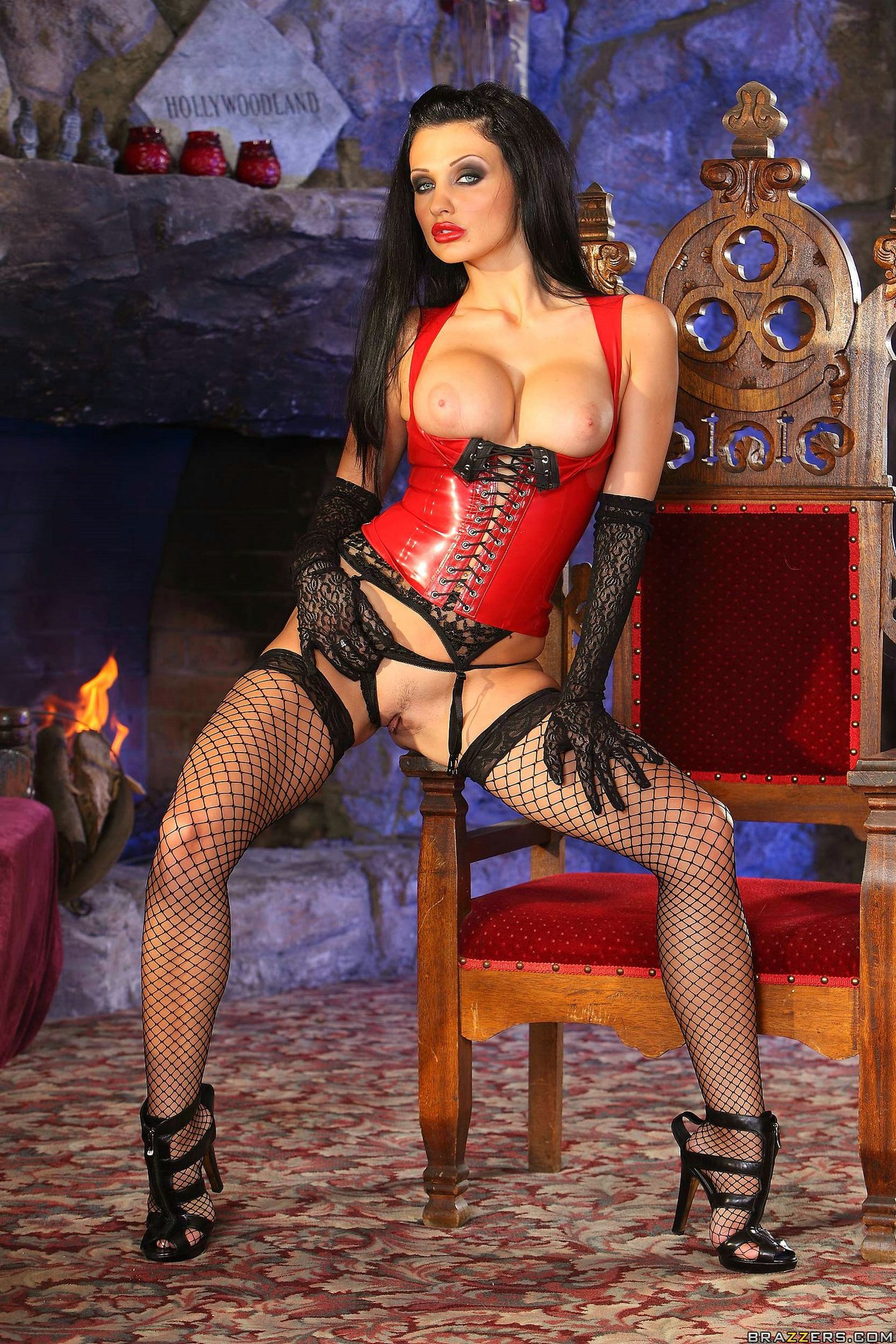 Aletta Ocean In Red Corset And Fishnet Stockings Poses For -1833