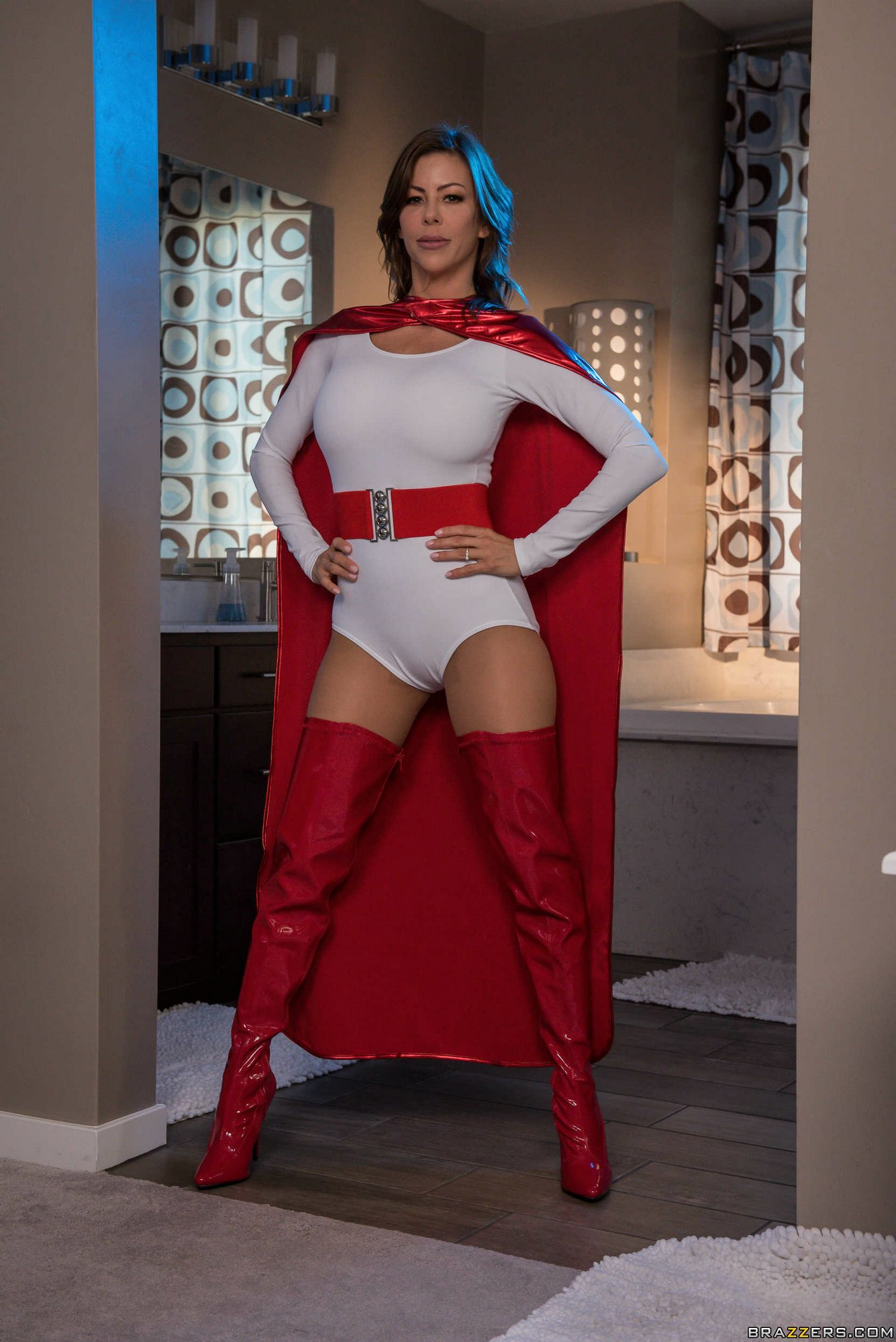 Hot Brunette Alexis Fawx Posing In Red High Latex Boots -4233
