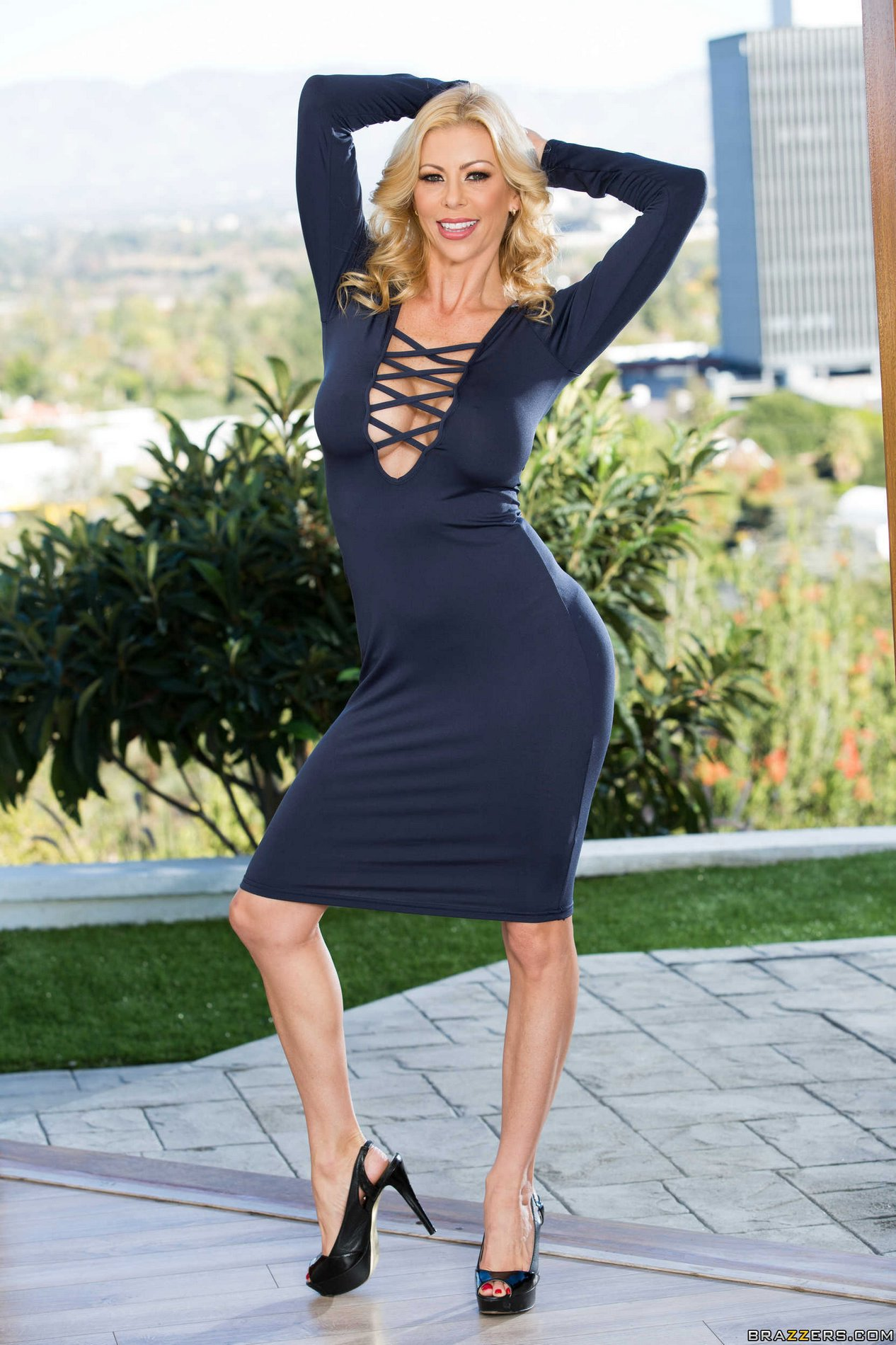 Elegant MILF Alexis Fawx in sexy dress and heels strips ...