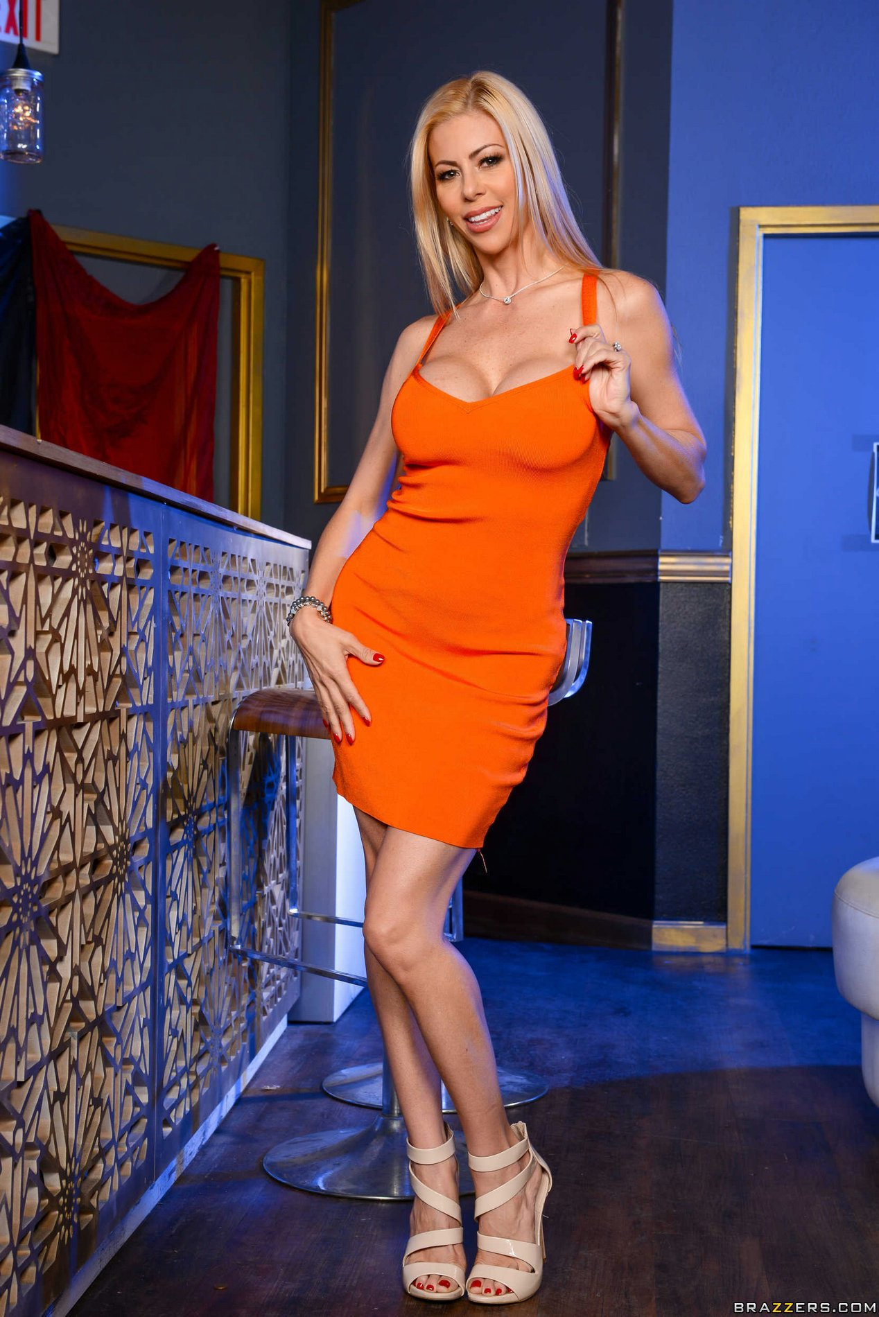 Alexis Fawx In Sexy Orange Dress And Sexy Heels Strips For -9462
