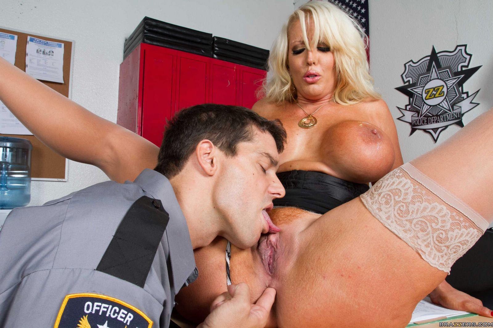 Classy bitch Alura Jenson gets fucked anally by horny policeman.