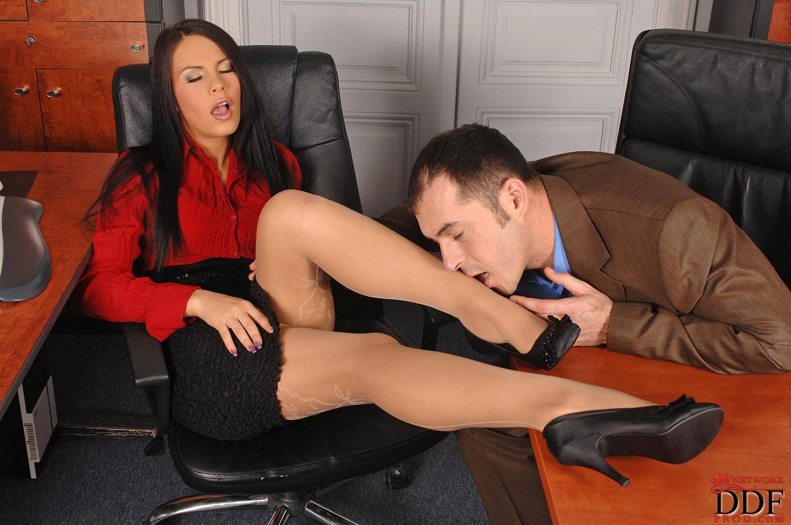 Initials secretary footjob