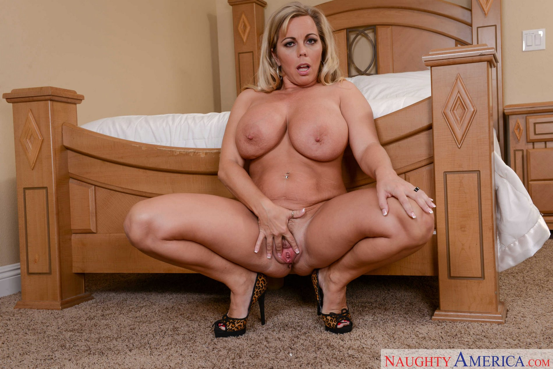 Amber Lynn Naked amber lynn bach in leopard dress strips and poses naked on