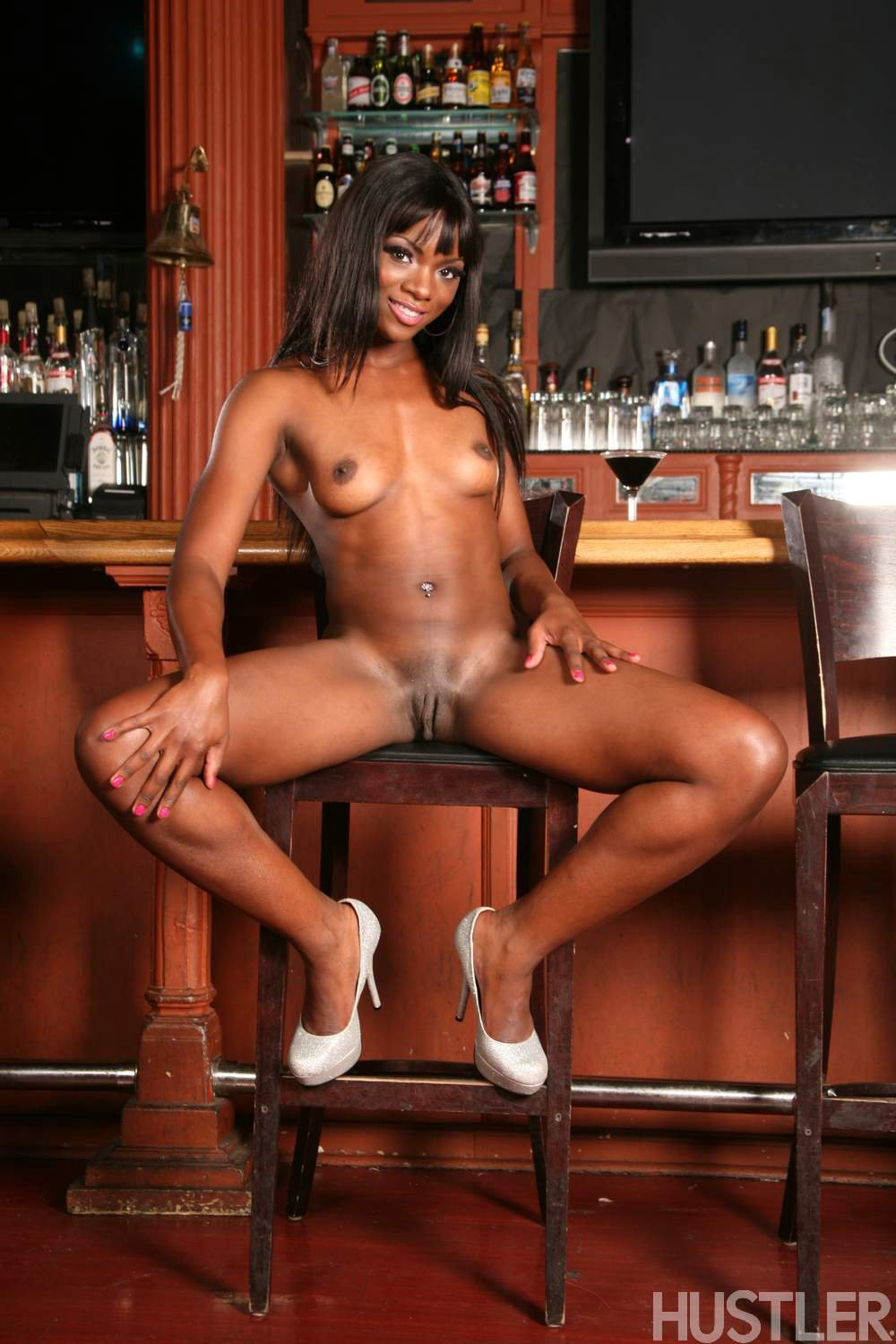 ana foxx in high heels posing at the bar my pornstar book
