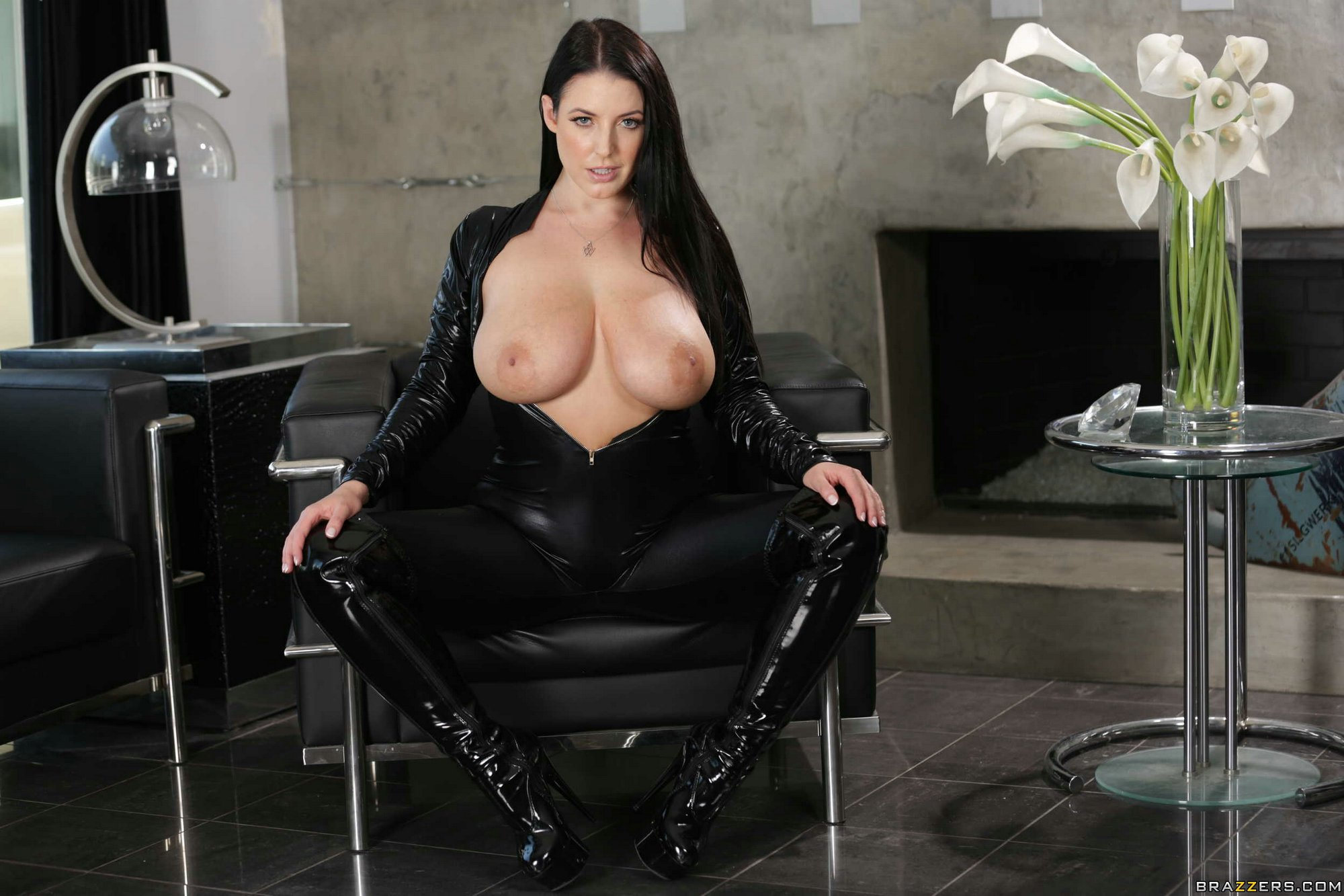 Busty Brunette Angela White Strips Off Her Sexy Black -6386