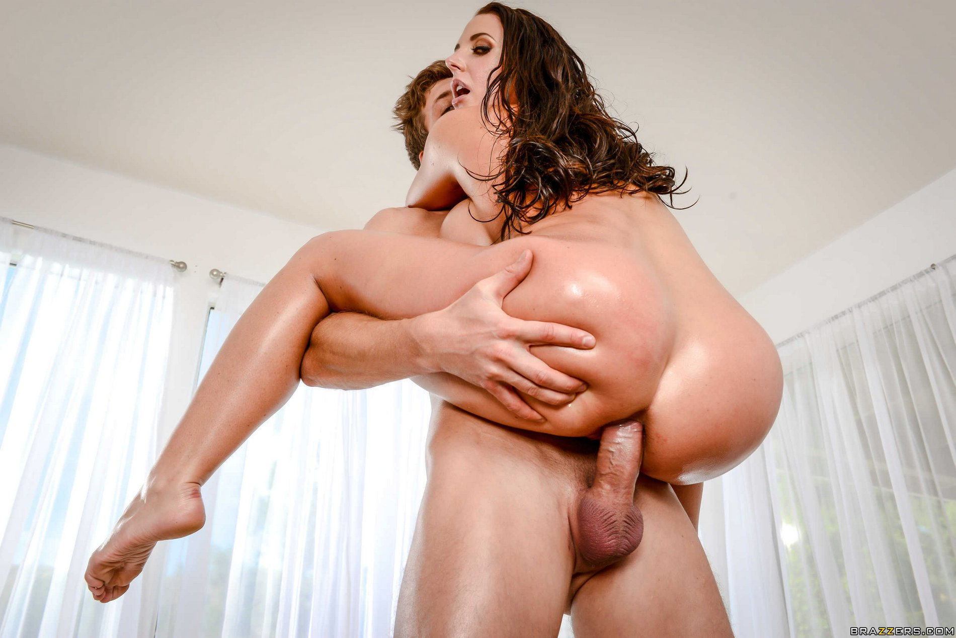 Angela white drilled by lover over kitchen counter 5