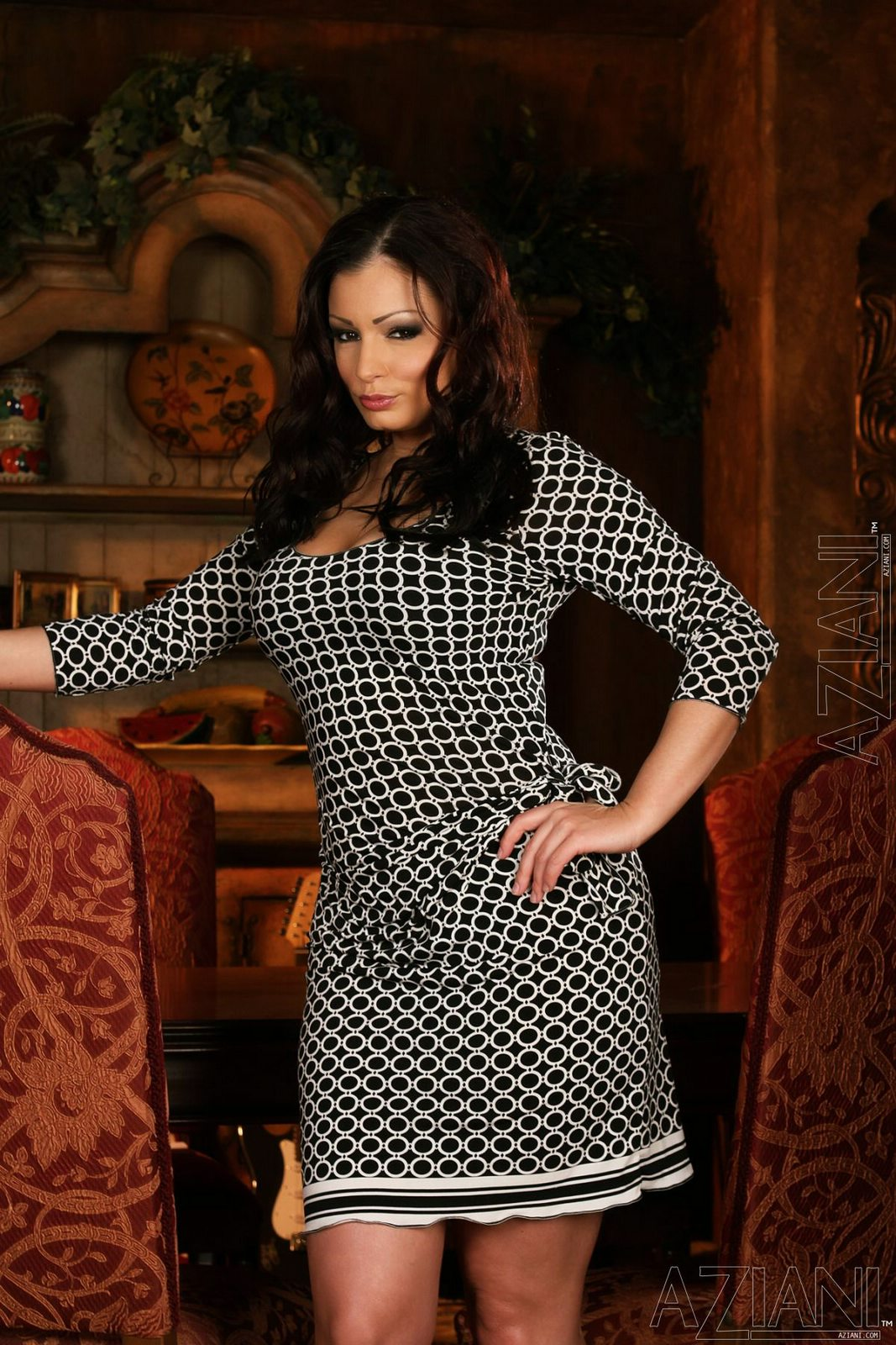Aria Giovanni in sexy dress stripping and showing off her hot body - porn pics at My Pornstar Book