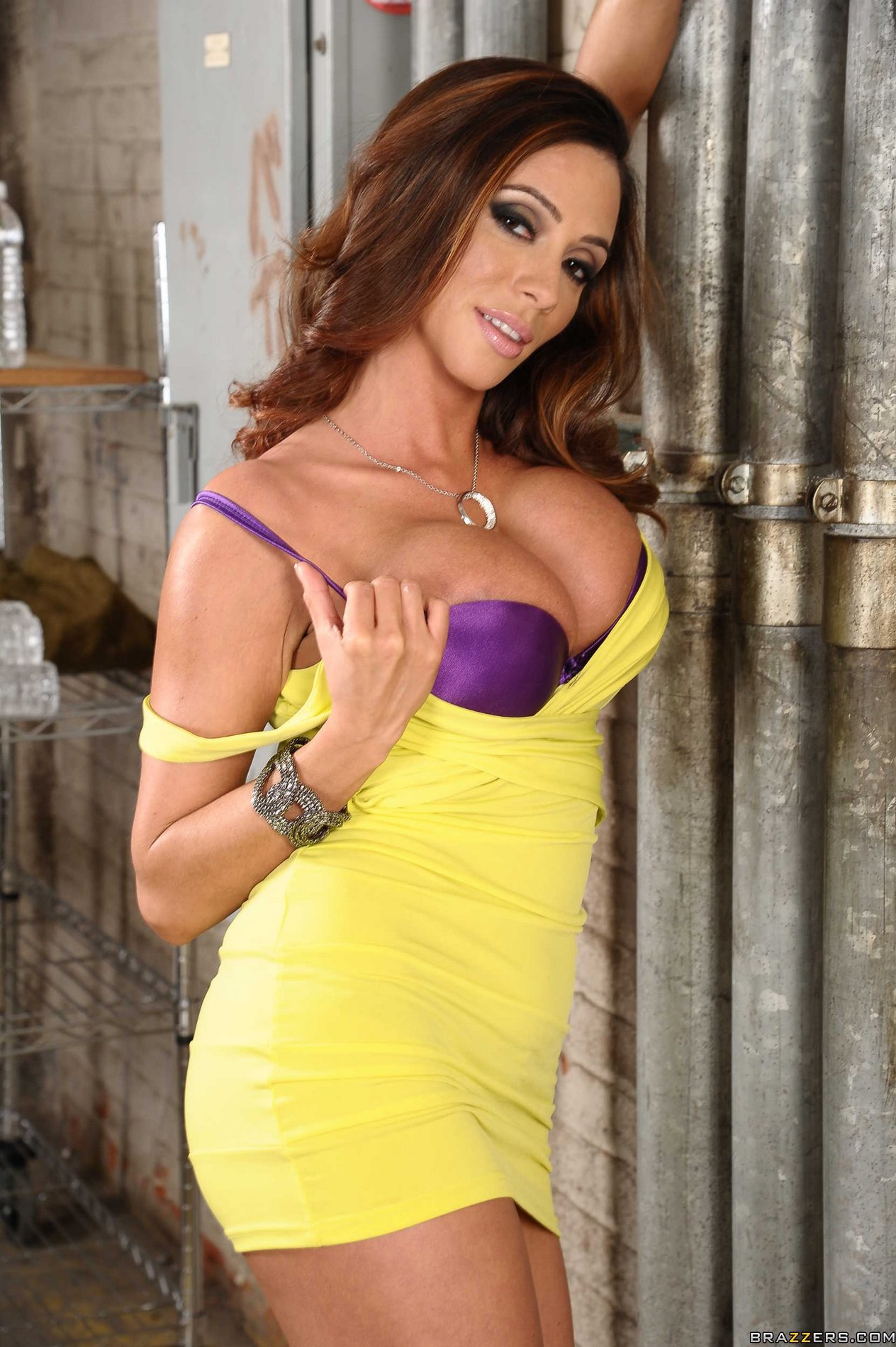 ariella ferrera in sexy yellow dress poses for your pleasure - my