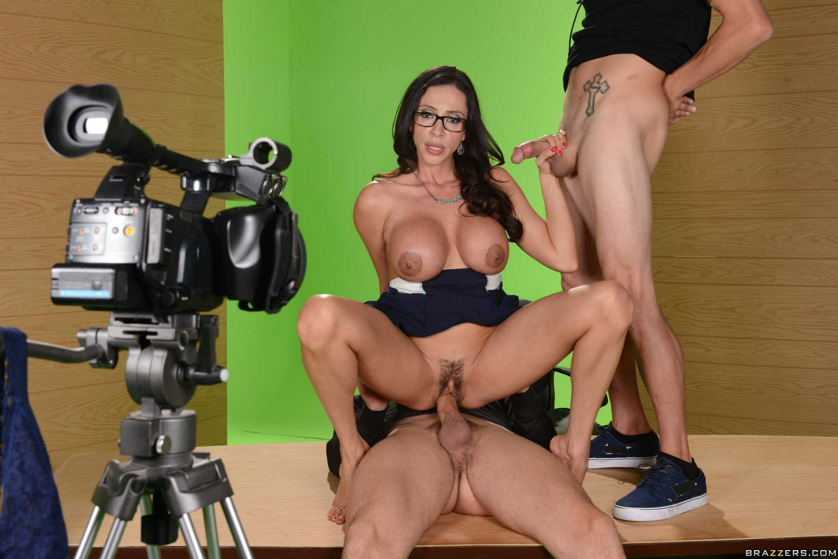 hot newscaster ariella ferrera fucking two guys in the