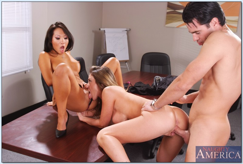 kayla paige naughty office - Asa Akira and Kayla Paige fucking a handsome guy in the office.