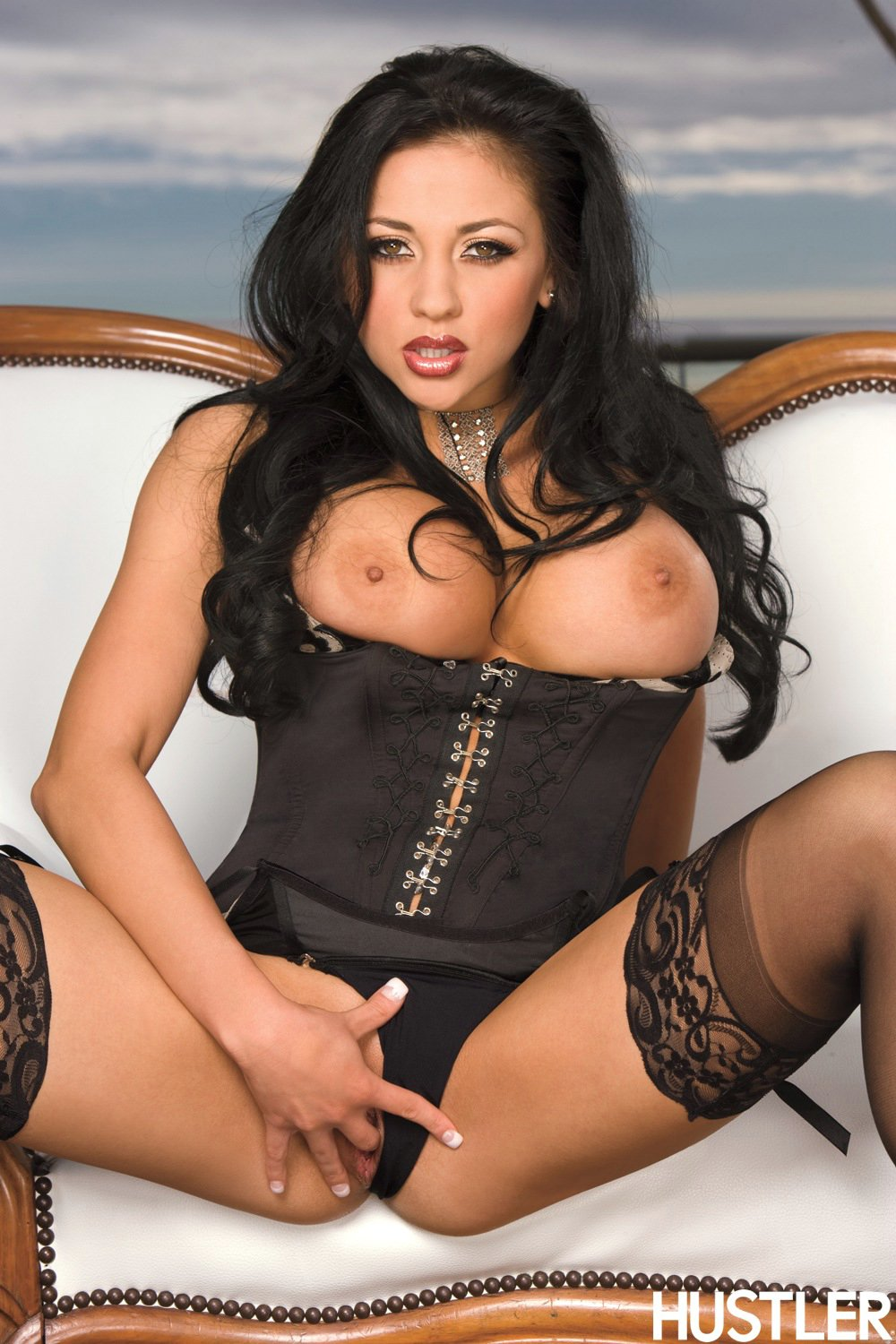 Audrey Bitoni in sexy corset and stockings posing and ...