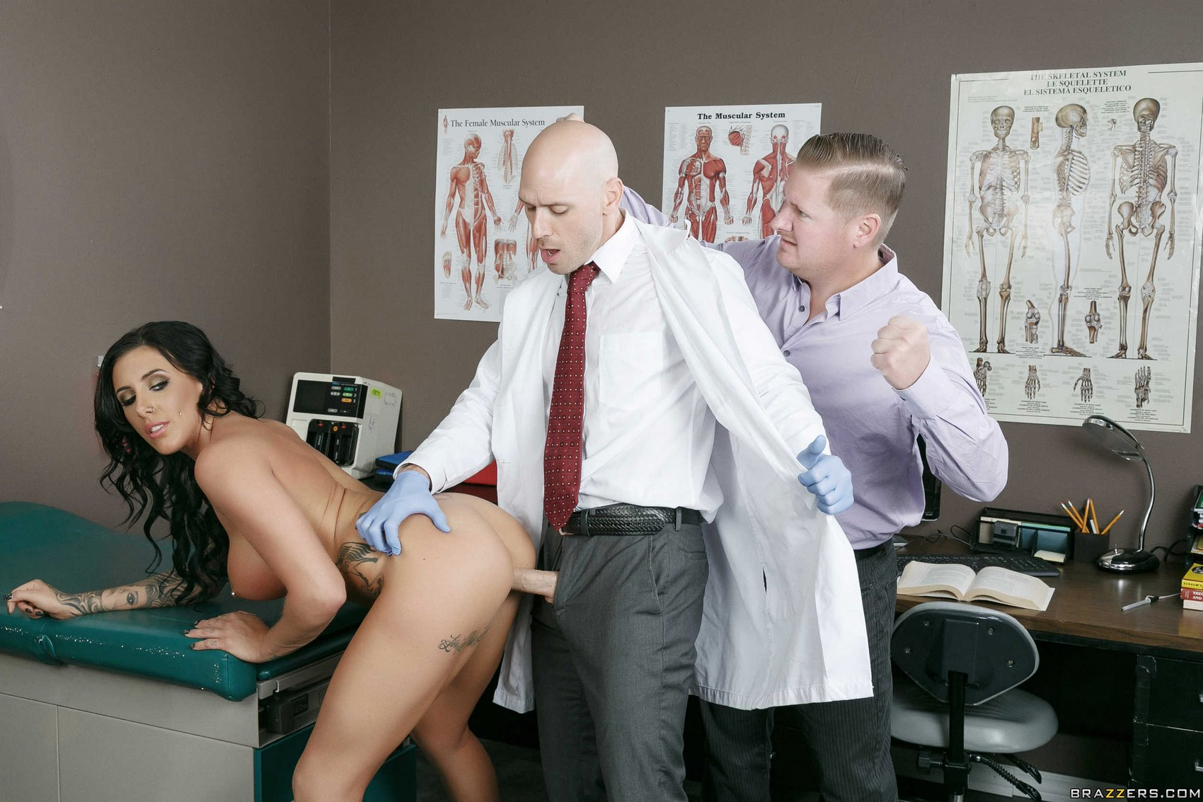A doctor fucks her patient in front of her husband