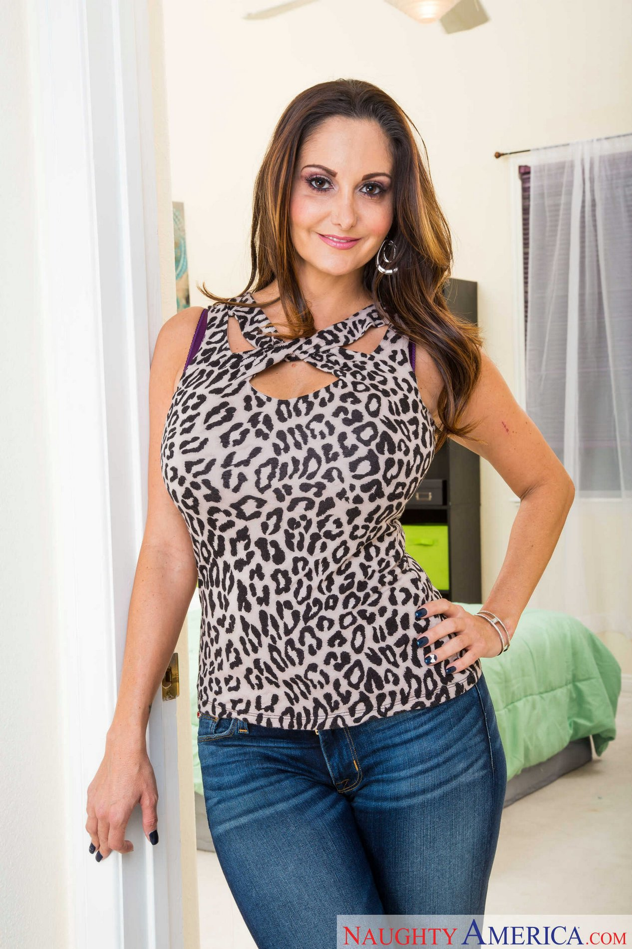 Ava Addams In Sexy Jeans And T-Shirt Strips And Poses -3160