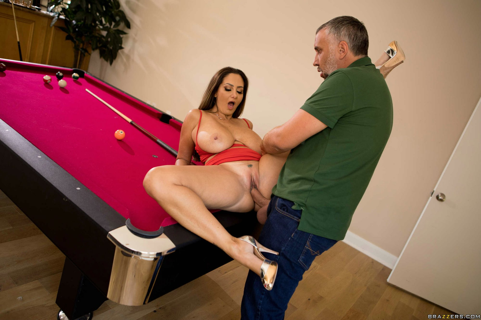 Fatty blonde milf gets fucked on the pool table and facialized