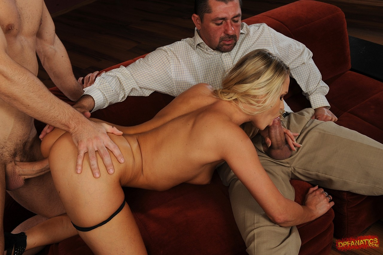 Naughty blonde Barra Brass fucking two big cocks at once ...