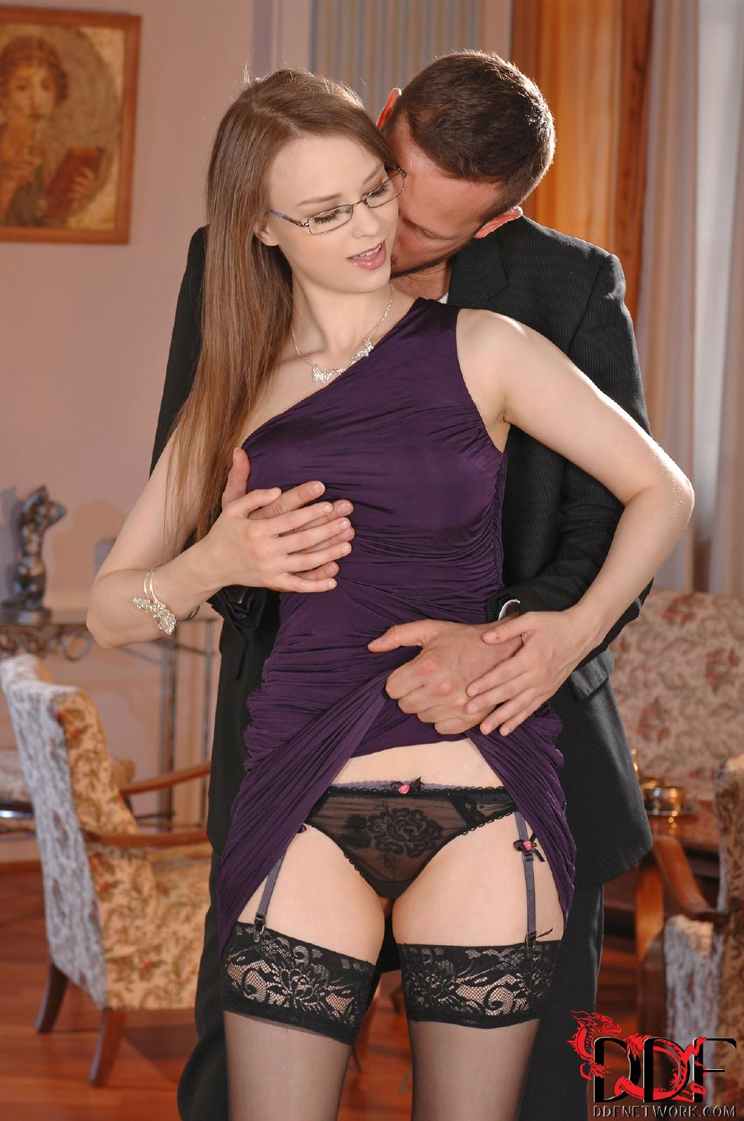 stockings as pussy Beata Undine in black stockings takes huge cock in her pussy.