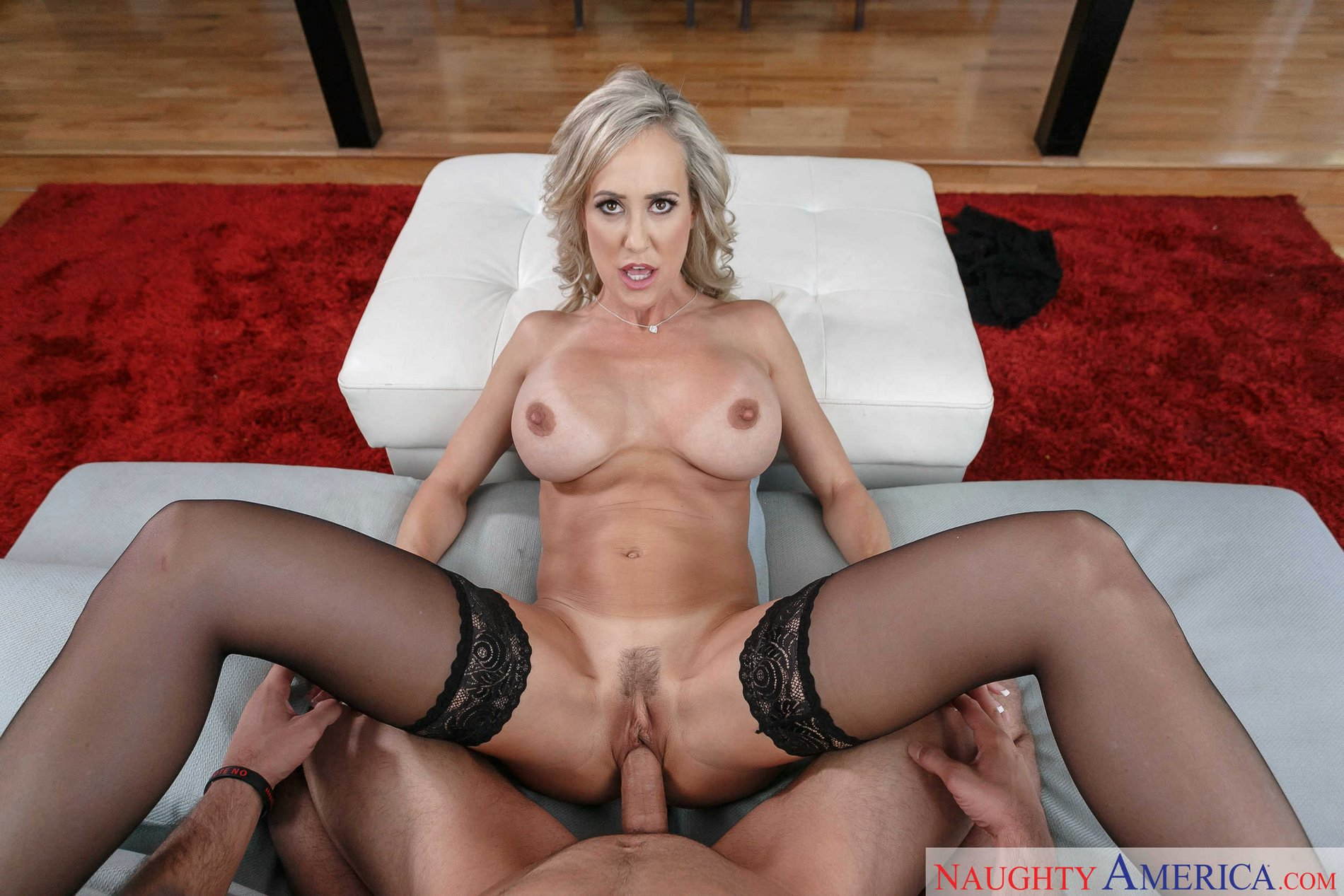 Brandi Love In Black Stockings Gives Blowjob And Gets Fucked In Pov