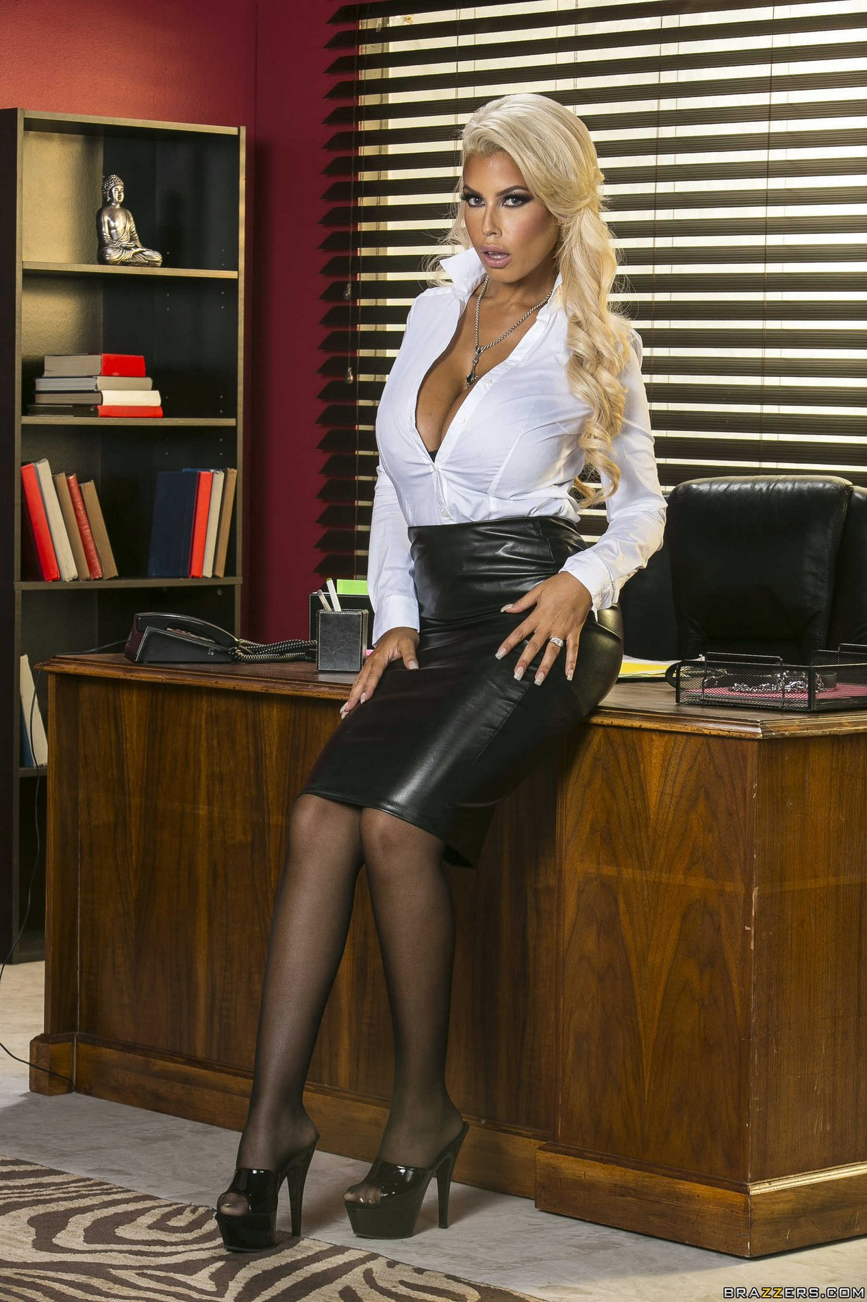Hot Busty Business Woman Bridgette B Strips In The Office -1845