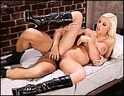 Hot prison guard Britney Amber having sex with an inmate.