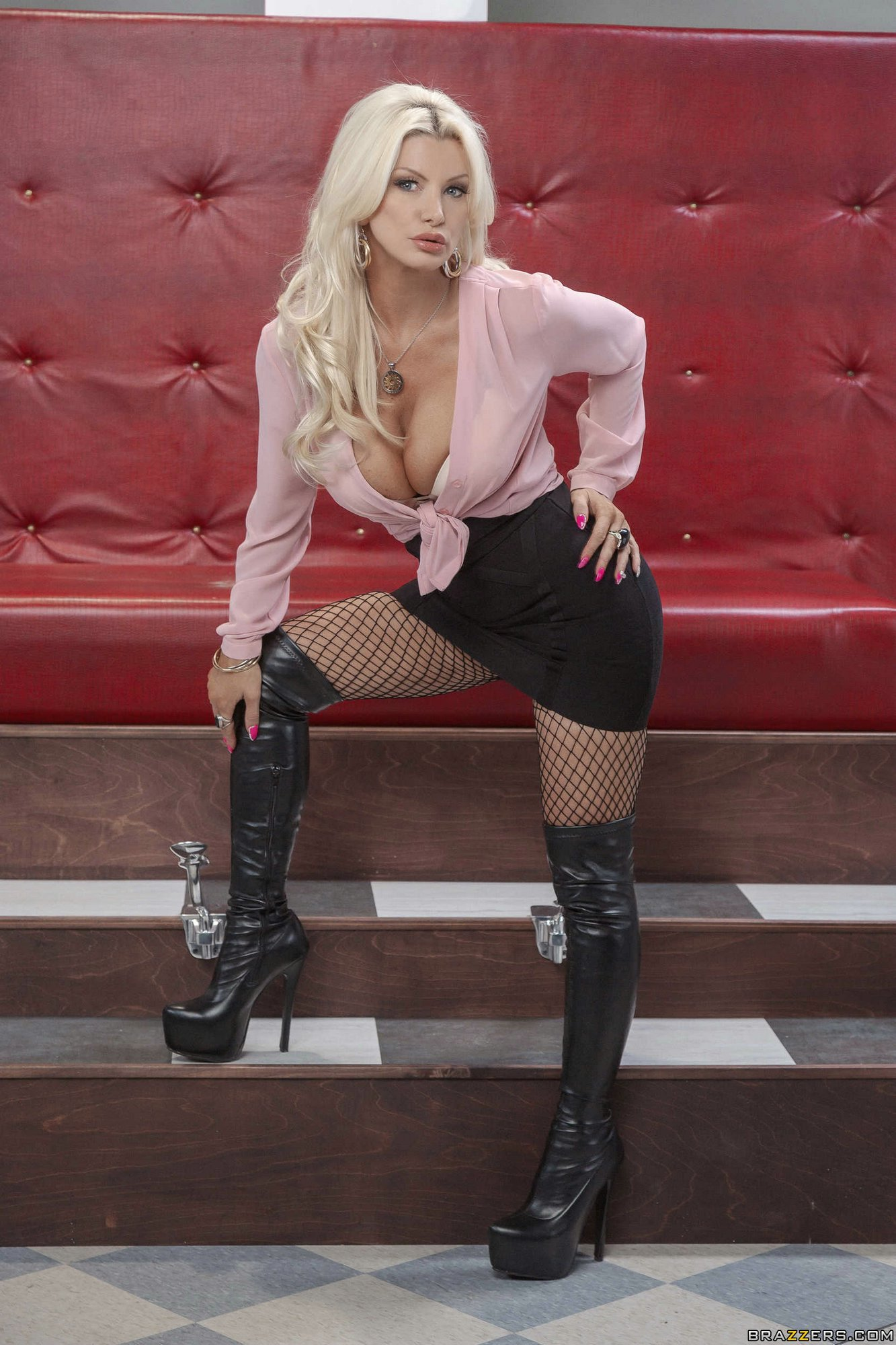 Brittany Andrews Posing In Fishnet Stockings And Black -1374