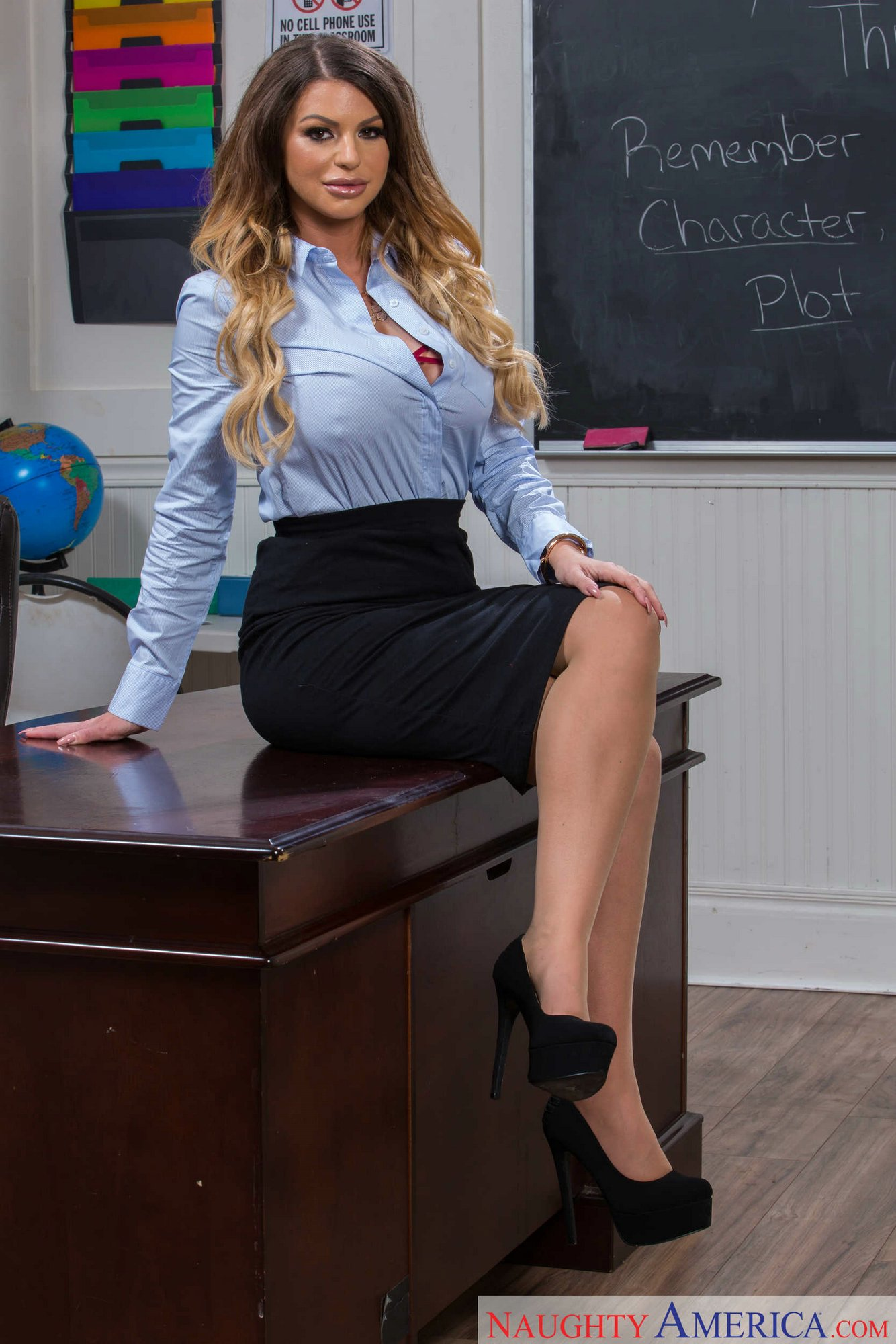 Hot Busty Teacher Brooklyn Chase Stripping And Teasing -6346