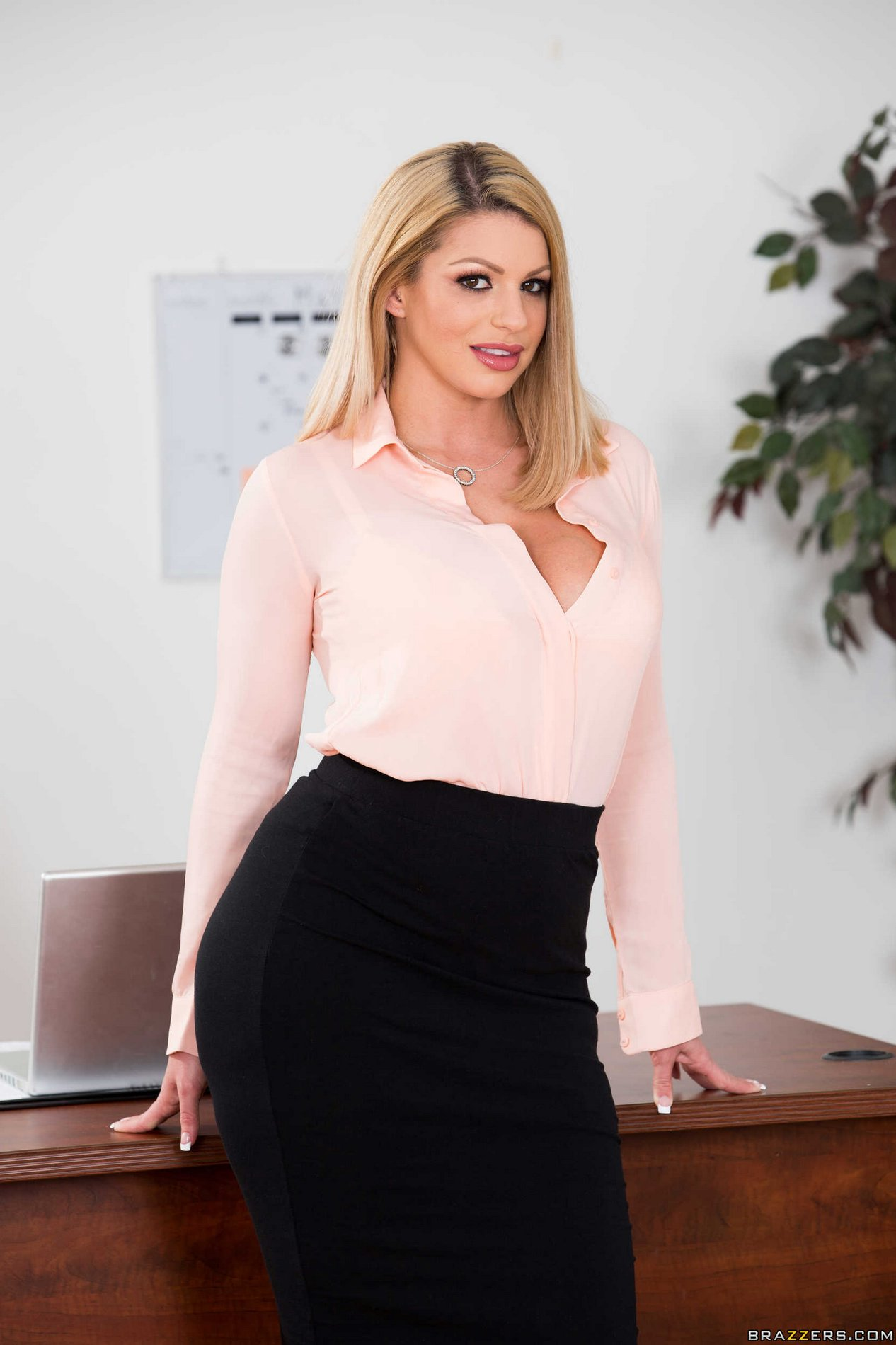 busty secretary brooklyn chase strips and shows off her big boobs