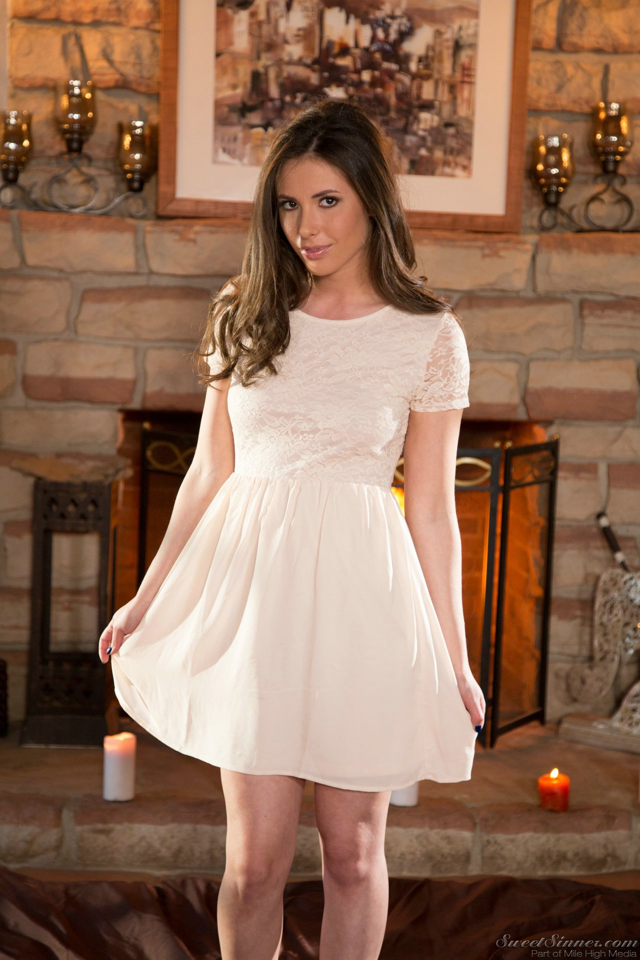 casey calvert in beautiful dress stripping and showing off