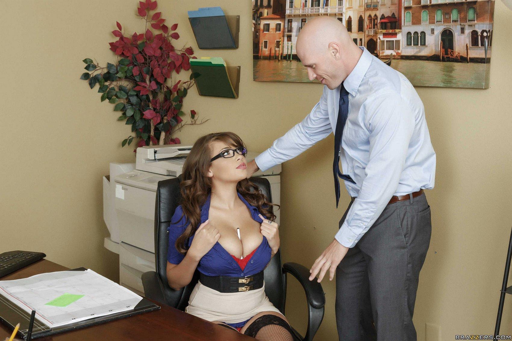 Busty secretary kesha ortega gets her latina tits pussy fucked