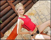 Nerdy blonde MILF Cayenne Klein strips down naked and shows off her holes № 765105 бесплатно