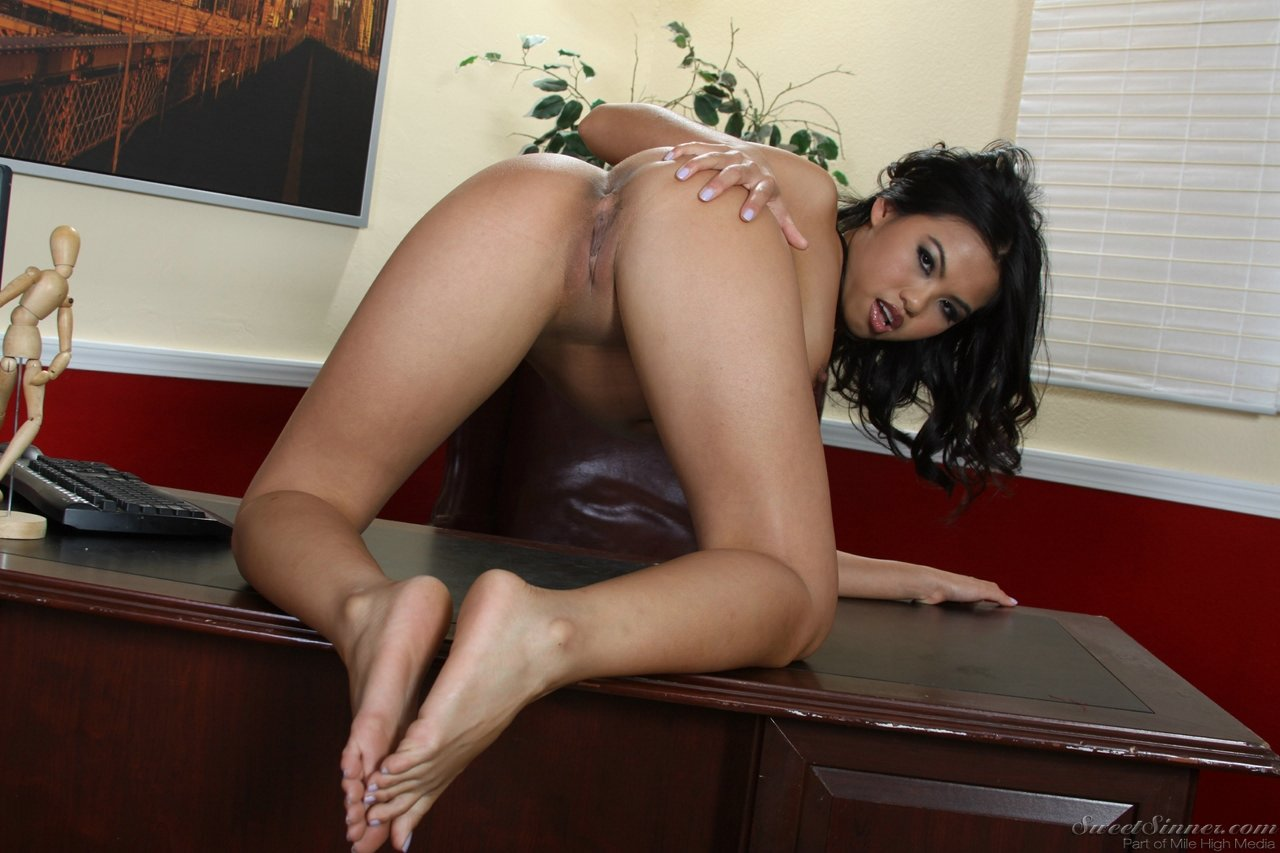 Posing nude in the office