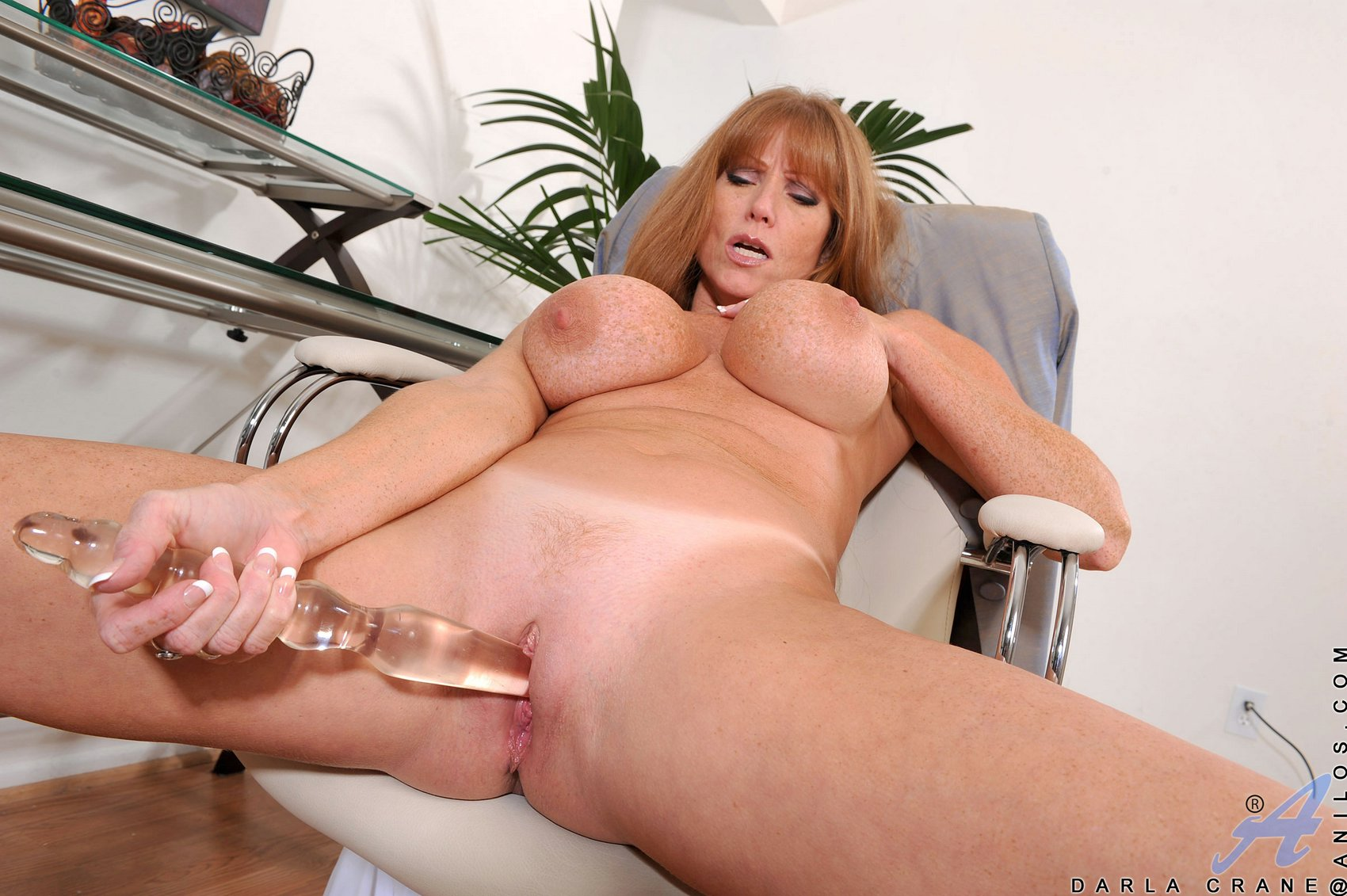 busty mature lady darla crane fucking her pussy with glass dildo