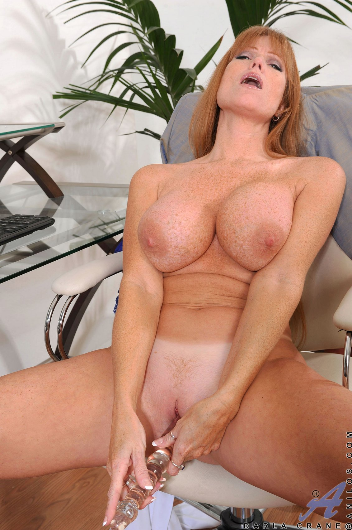 Busty mature lady Darla Crane fucking her pussy with glass dildo ...