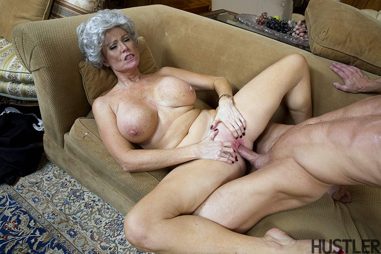 Blonde grandma in black stockings fucks herself 10