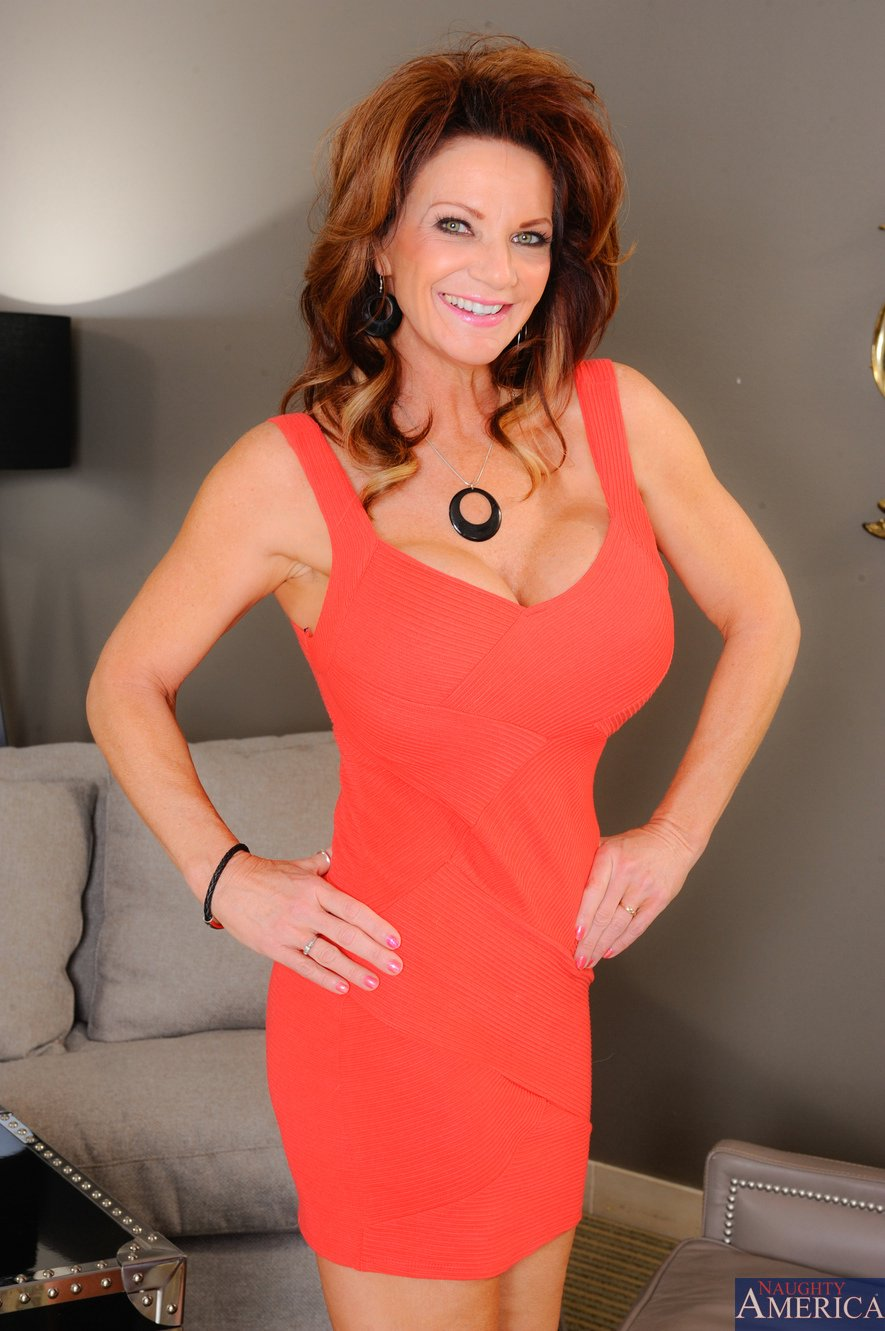 deauxma in red dress and heels stripping and posing for your