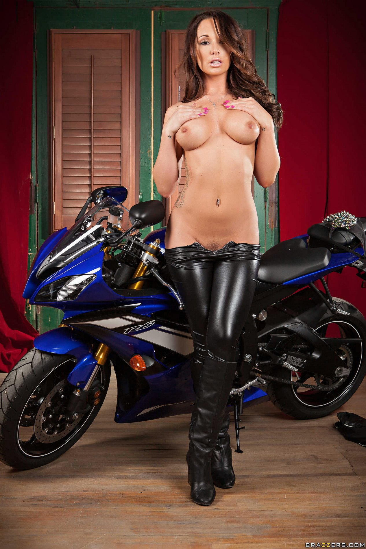 Destiny Dixon In Black High Boots Poses With A Motorcycle -4733