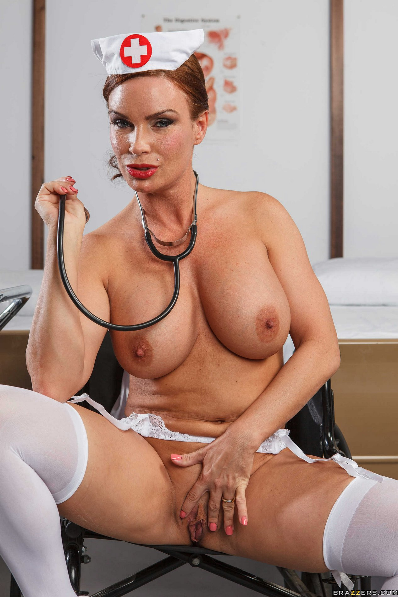 Busty pornstar posing like a nurse