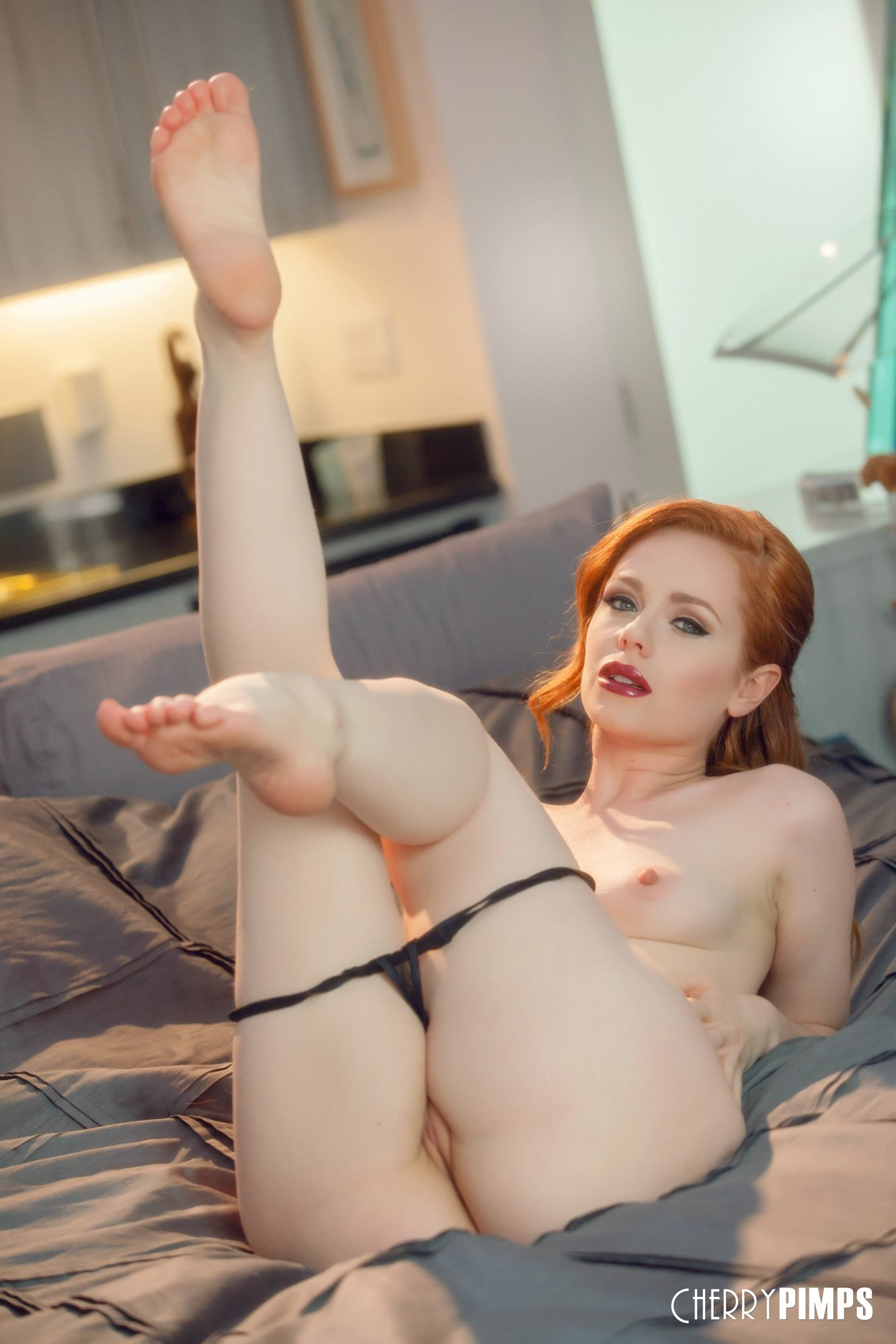 Ella Hughes spreading her legs and sensually touches her ...