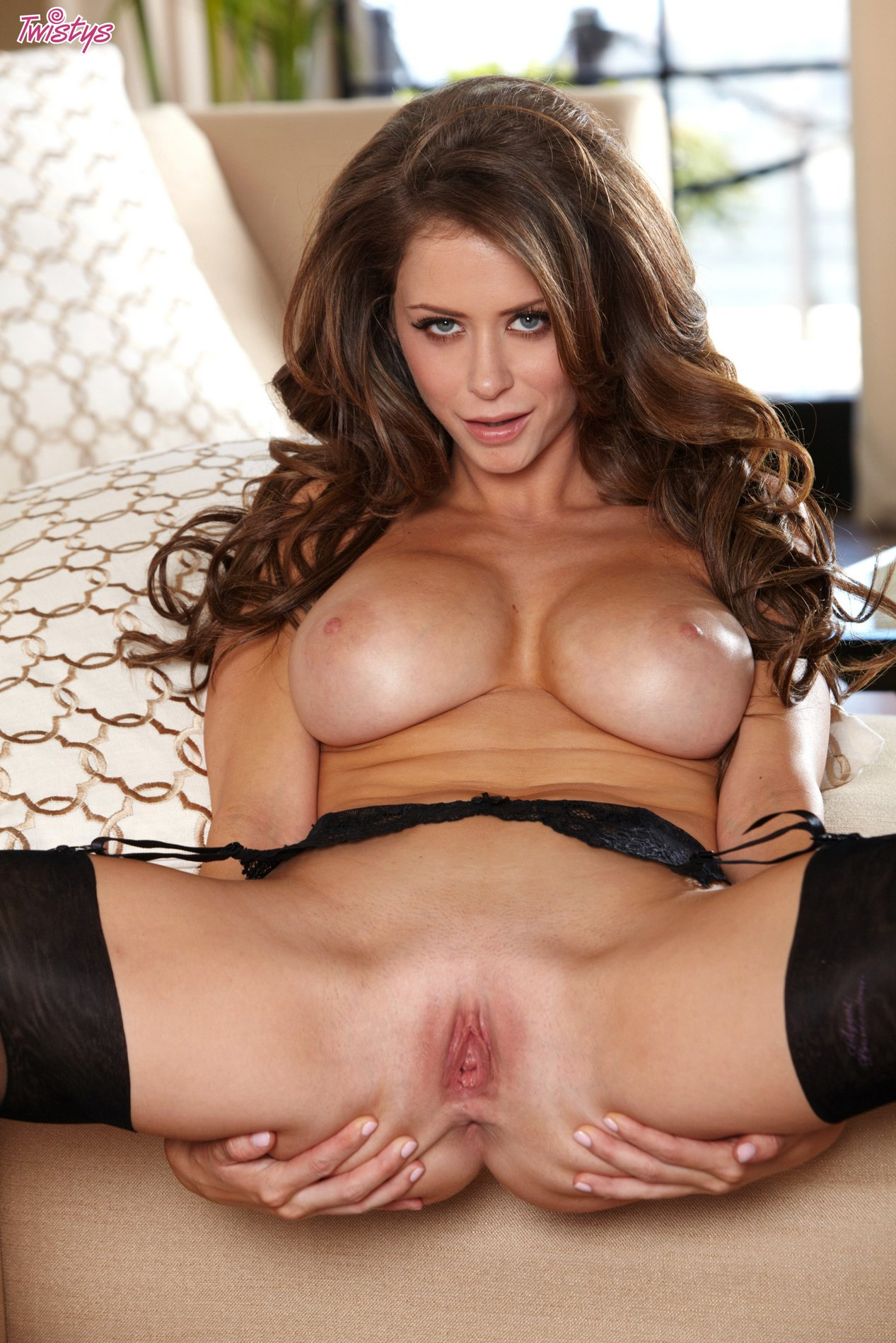 emily addison in sexy black stockings poses for camera - my pornstar