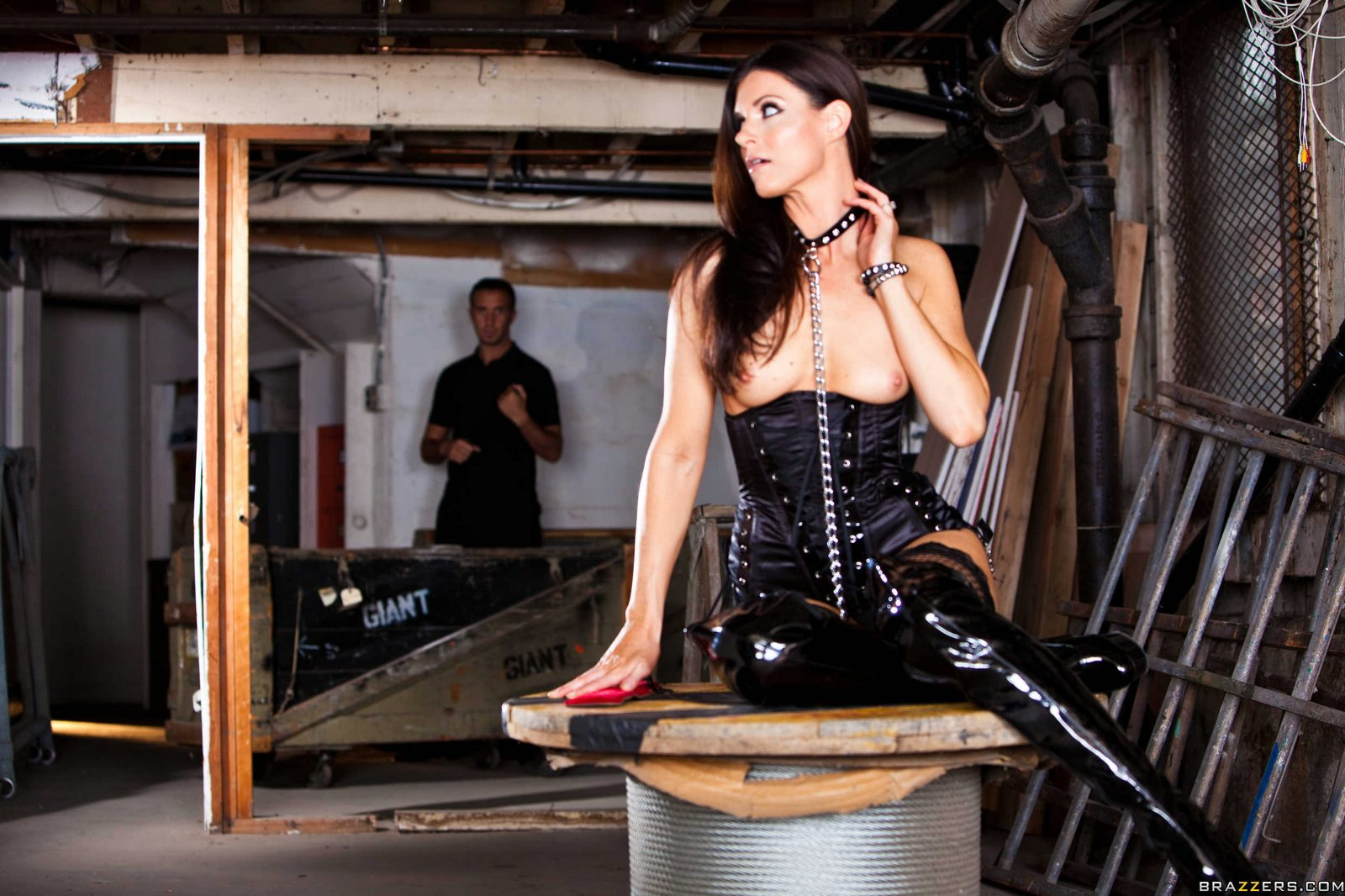 Sex slave India Summer in high latex boots gets anal fucked ...