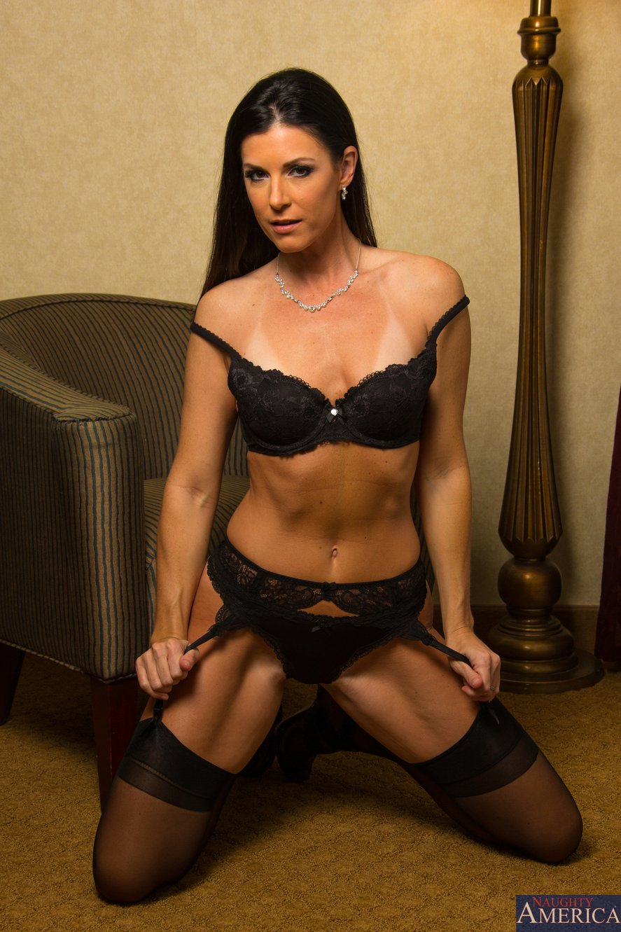 India Summer In Black Stockings And Sexy Shoes Posing On