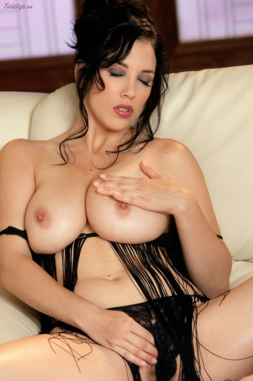 Jelena Jensen in sexy lingerie posing in front of the ...