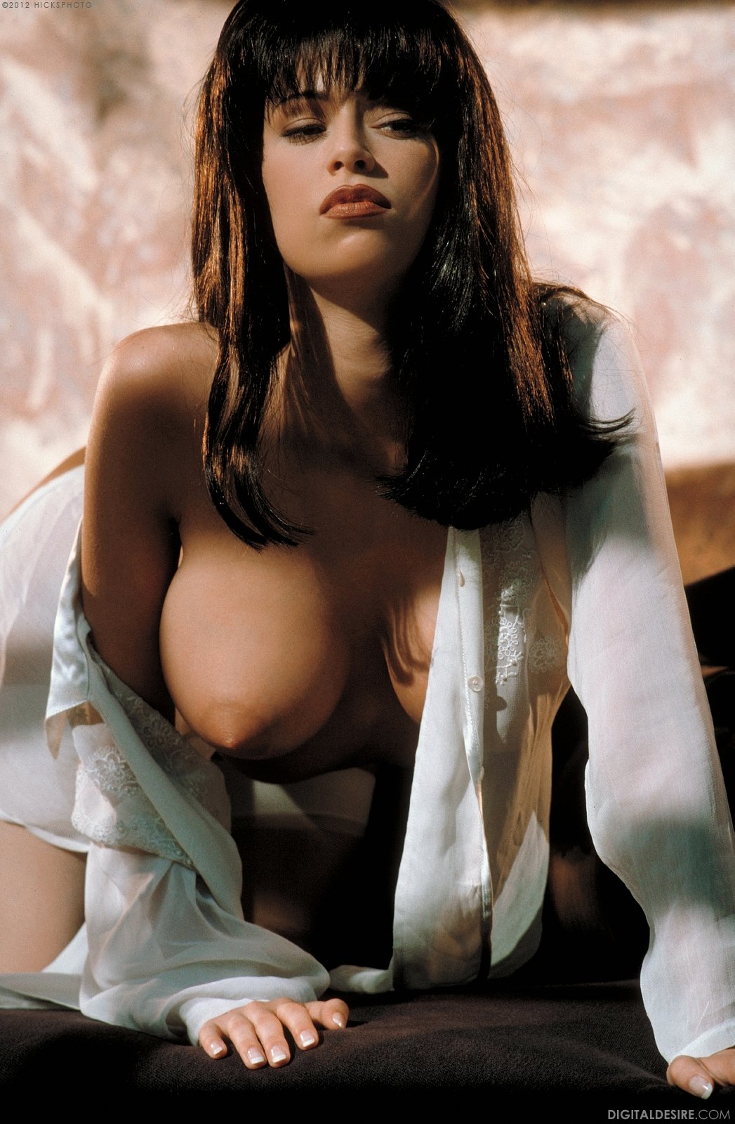 Busty Brunette Jenna Jameson In White Stockings Poses For -2026