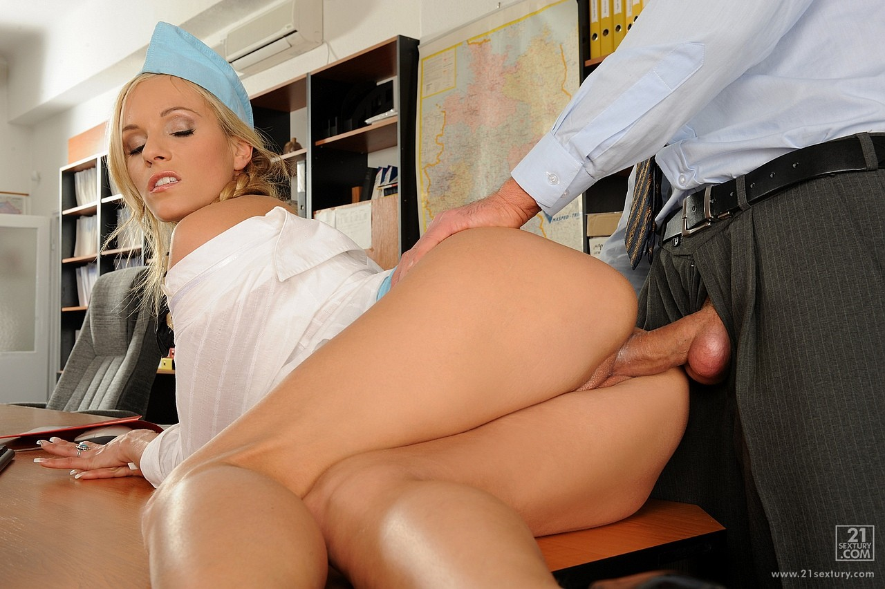 Air hostess rides oldman before cocksucking 10