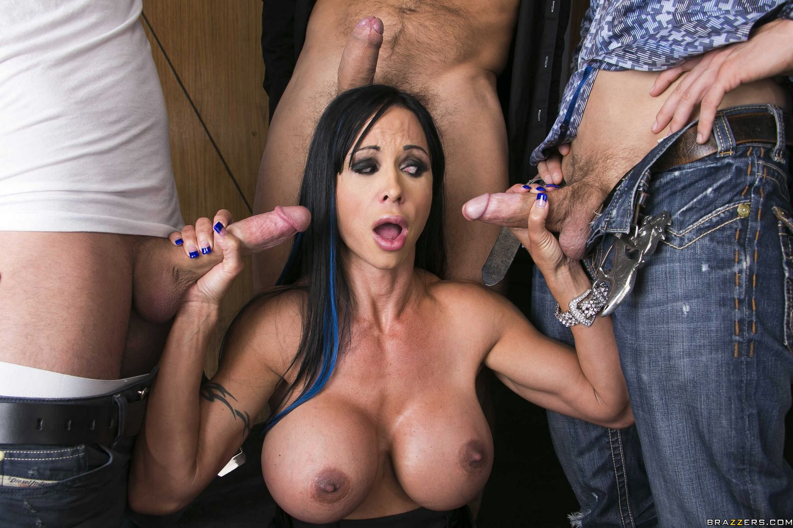 Jewels Jade Sucking And Fucking Three Huge Cocks At Once - My Pornstar Book-9913