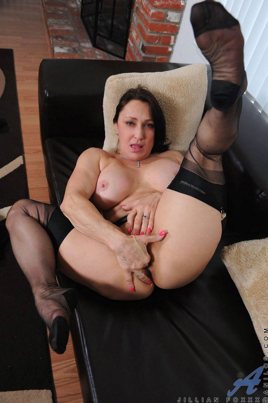 Jillian Fox in black stockings fingerfucking her pussy ...
