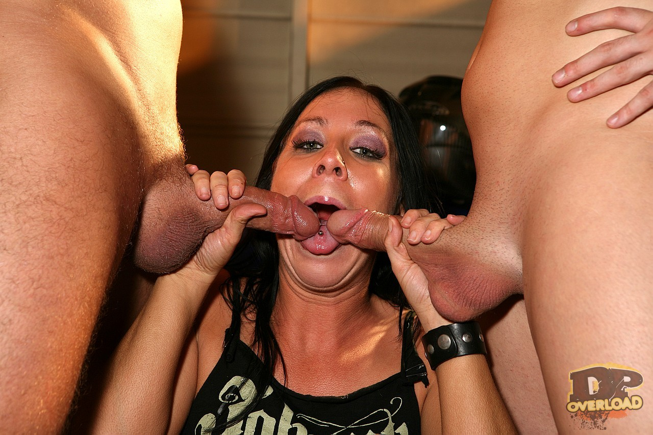 image Girl sucking two huge cocks and facial cumshot
