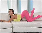 Asian beauty Kalina Ryu slips off pantyhose before riding Sybian sex machine  1409925